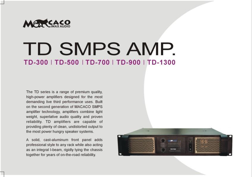TD系列开关电源功放应用R T最新技术开发而成,2U的标准高度,平均16kg的重量,高达1300W/8Ω的立体声标准输出,说明在任何方面都堪称是最顶级的。不惜成本的用料和超高效率的开关电源设计减轻了功放总体重量,对音频信号没有任何影响,在各种负载阻抗情况下,不是高阻抗还是在低阻抗,功放都能够给扬声器系统提供最佳的匹配,倒悬挂式线路安装设计是专门为流动演出设计的,可适应各种恶劣的工作环境,能经受长途运输的颠簸,承受大范围温度变化和潮湿的工作环境。极高的功率输出要求具有高效的散热系统设计,RT